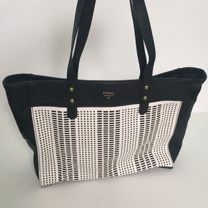 Fossil black and white perforated tote bag purse